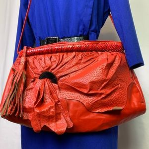 Oversized Vintage Red Leather Purse